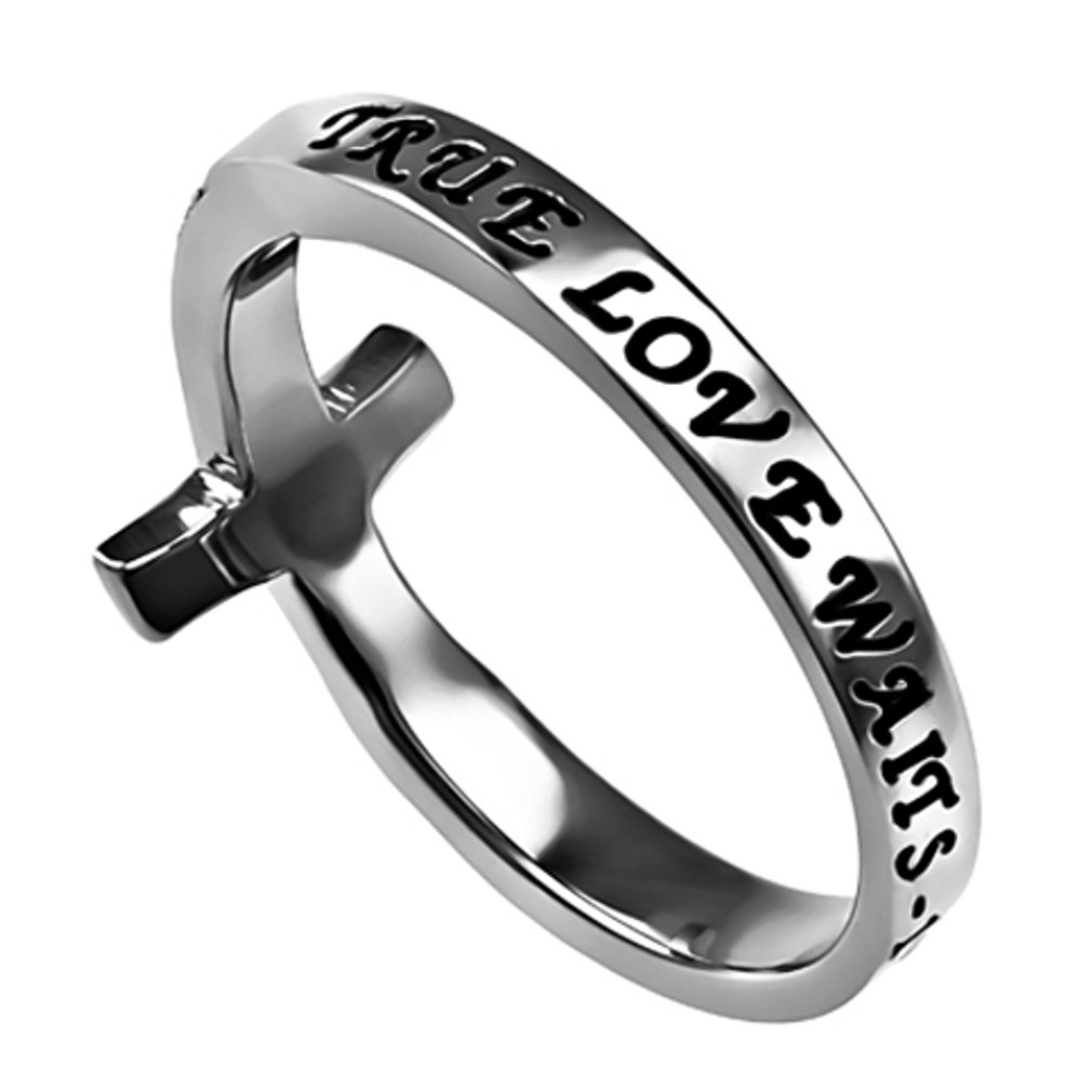 True Love Waits Ring Sideways Cross Purity, Christian Chastity Ceremony, Stainless Steel