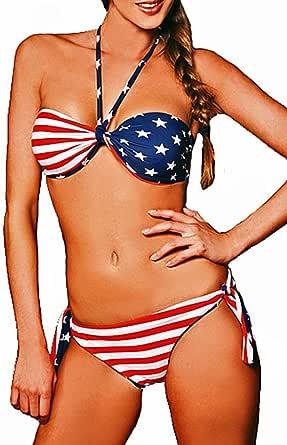 Maillot de bain femme 2 pièces bikini bandeau réversible Drapeau américain taille M: Amazon.es: Ropa y accesorios