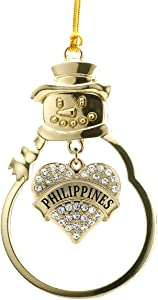Inspired Silver - Philippines Charm Ornament - Gold Pave Heart Charm Snowman Ornament with Cubic Zirconia Jewelry