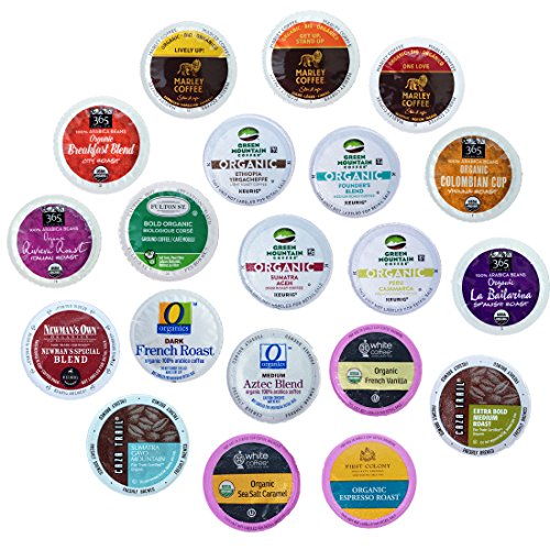 Organic Coffee K-Cups Variety Pack for Keurig Brewers, 20-count. Includes The Curated Pantry Gift Tag