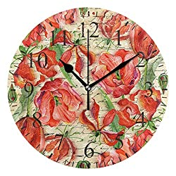 Dozili Vintage Retro Red Floral Pattern Round Wall Clock Arabic Numerals Design Non Ticking Wall Clock Large for Bedrooms,Living Room,Bathroom