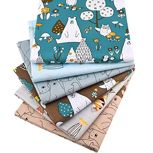 Zoo Animals Fat Quarters Fabric Bundles, Bear Fish Print Precut Sewing Quilting Fabric,18