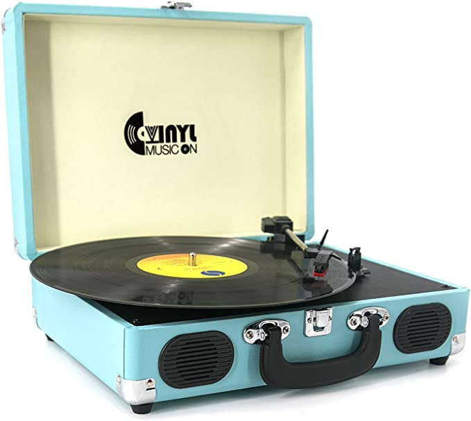Record Player, VINYL MUSIC ON Vinyl Turntable with 2 Built-in speakers, 3-Speed Portable