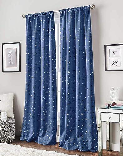 Starry Night Room Darkening Rod Pocket Curtain Panel,63-inch, Blue