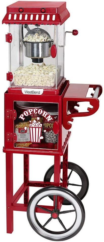 West Bend PCMC20RD13 Popcorn Cart 2.5-Ounce Non-Stick Stainless Steel Kettle Makes 10 Cups Features Prep Shelf Storage and Wheels for Easy Mobility Includes Measuring Tool & Scoop, Red