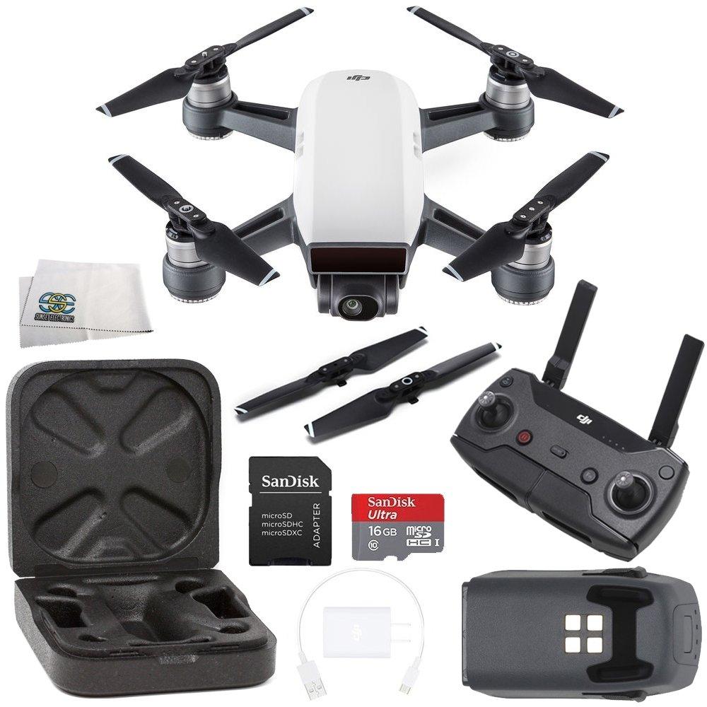 DJI Spark Quadcopter (Alpine White) + DJI Spark Remote Starter Bundle by SSE