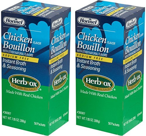 Hormel Herb Ox Chicken Bouillon Sodium Free 50 Packets (Case of 2) (Granulated Chicken)