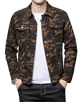 50be4699d3dd7 Heless Men's Camouflage Slim Fit Long Sleeve Casual Washed Denim Jacket Jean  Coat 1 XXS