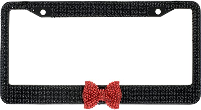BLVD-LPF Clear Crystal Diamond Rhinestone Chrome Metal License Plate Frame License Plate Frame with Black Crystal Bow Tie in The Middle with Crystal Screw Caps