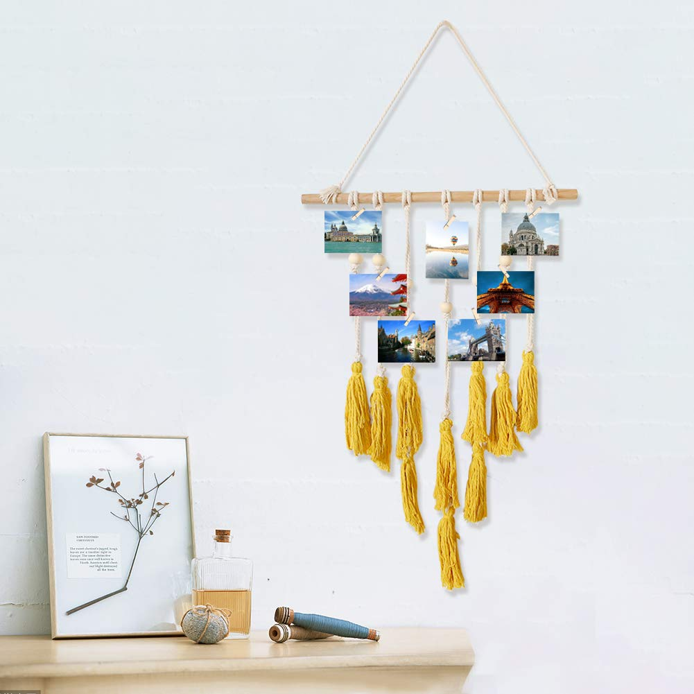 Wall Hanging Photo Display,Macrame Wall Decor Photo Organizer Tassel Wall Hangings(Yellow)