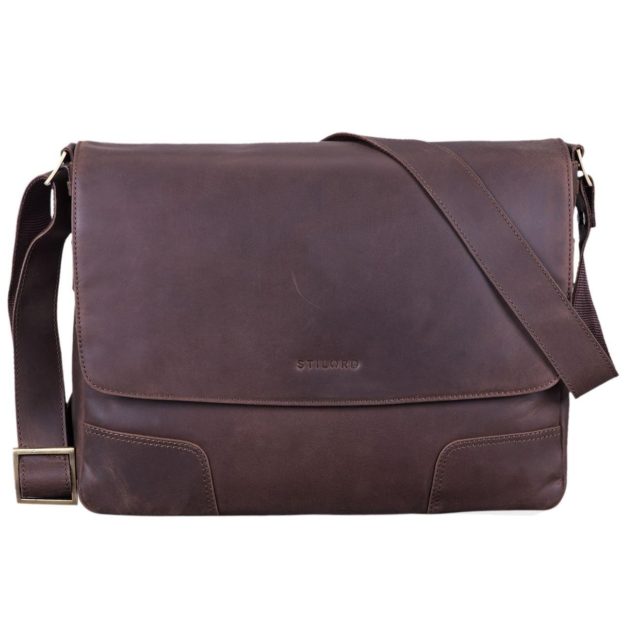 STILORD 'Miro' Messenger Bag Leder Umhä ngetasche 14 Zoll Vintage Design fü r Herren Damen Uni Bü ro Arbeit Aktentasche DIN A4 Laptoptasche Echtleder, Farbe:Cordoba - braun