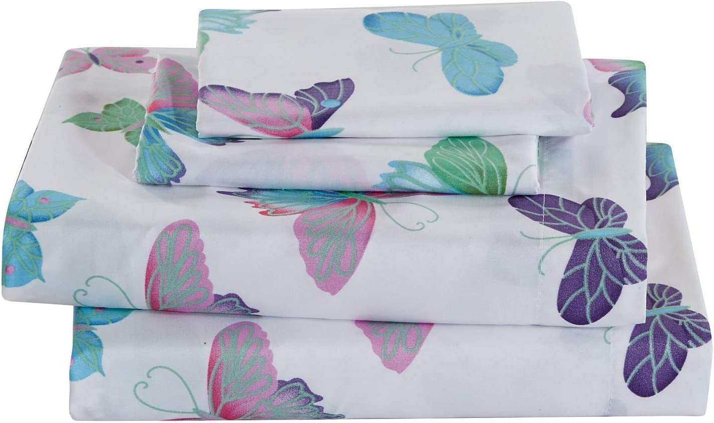 Elegant Home Purple Turquoise White Pink Green Butterflies Design 4 Piece Printed Sheet Set with Pillowcases Flat Fitted Sheet for Girls/Kids/Toddler (Butterfly, Full)