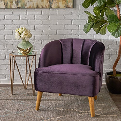 Christopher Knight Home 303504 Scarlett Modern BlackBerry Velvet Club Chair,