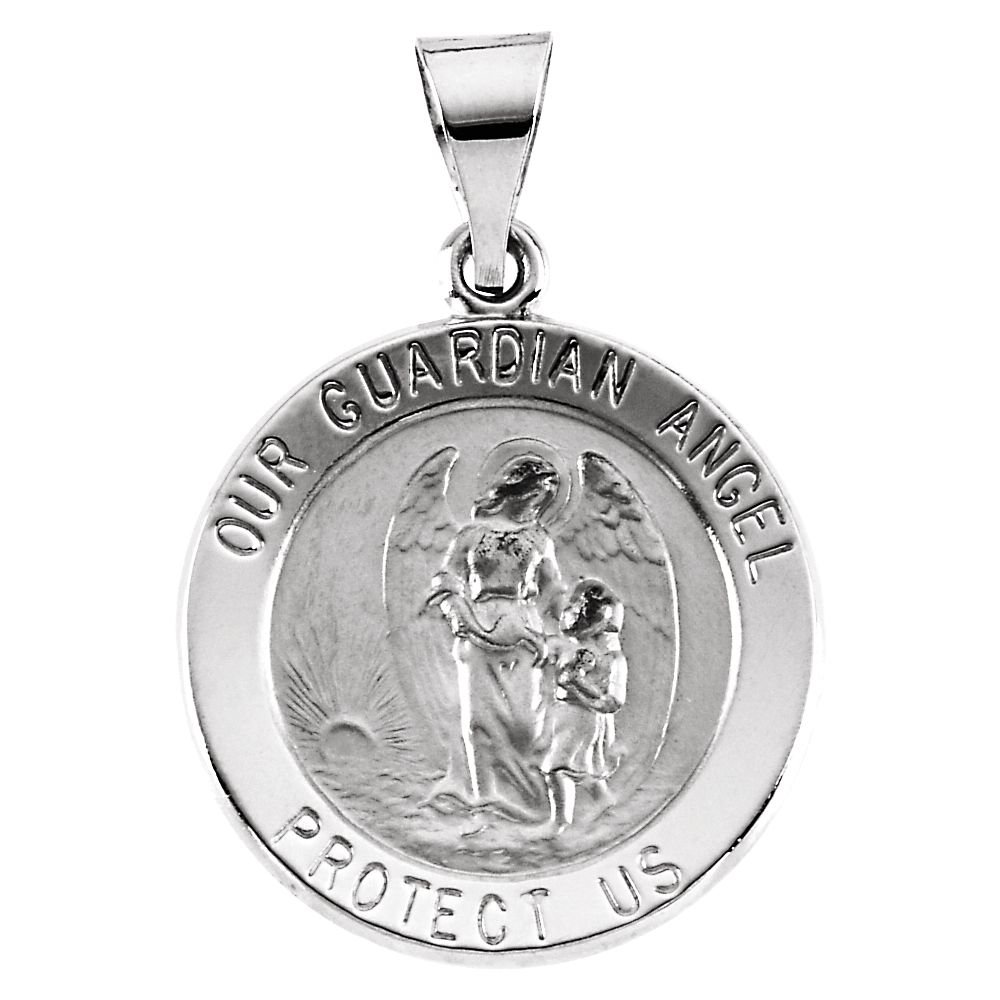 14K White Gold 18mm Hollow Round Guardian Angel Medal