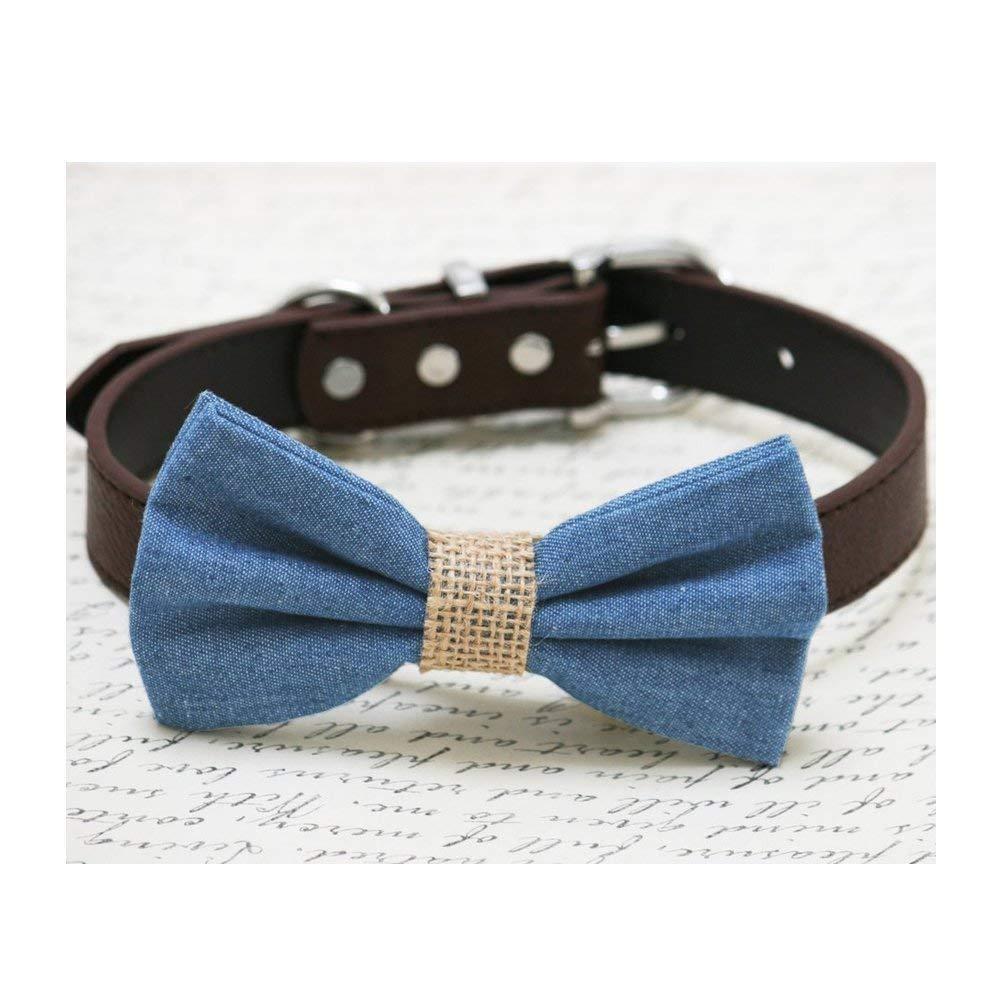 Denim Dog Bow tie collar, Blue bow, Burlap, Dog collar
