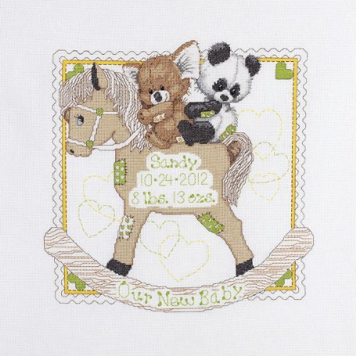 Bucilla Baby Counted Cross Stitch Birth Record Kit, 45610 Rocking Horse (Bucilla Baby Bear)