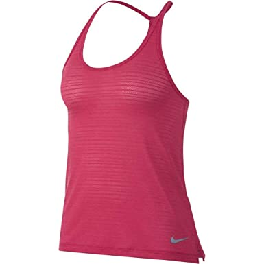 f4143b6b139ef NIKE Womens Breathe Dri-Fit Miler Strappy Tank Top Rush Pink 891166-622 (