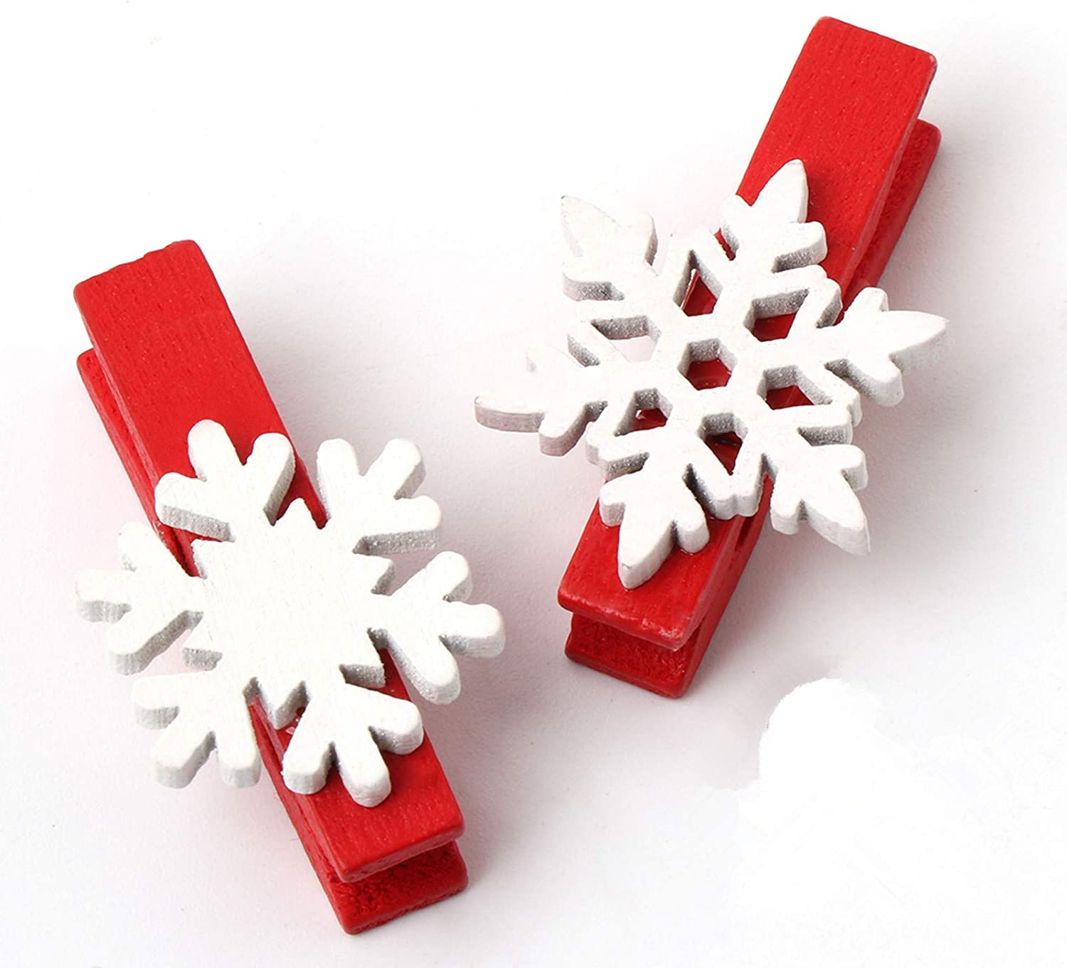 ilauke 50Pcs Christmas Wooden Clothespins Mini Snowflake Clothespin Clips for Christmas Cards Photo Paper Crafts (1.38 Inch)