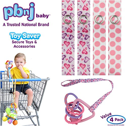 PBnJ baby Toy Saver Strap Holder Leash Secure Accessories Hearts-Pink Dots - (Pink Paisley Monkey)