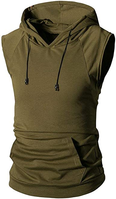 T Shirts for Men Hooded Sweatshirt Tees Sleeveless Hoodie Fashion Pullover Summer Zipper Sport Tops