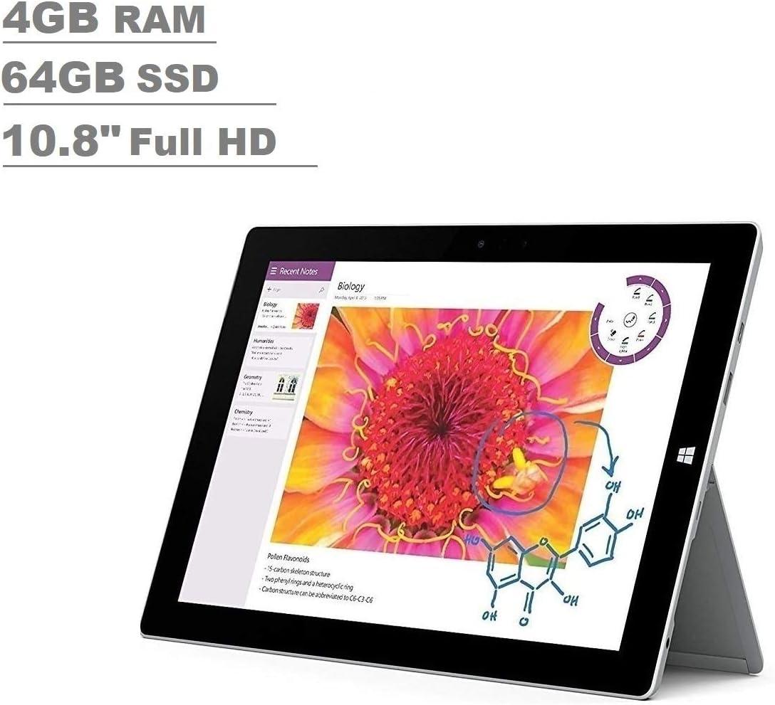 "Microsoft Surface 3 10.8"" FHD Full HD(1920x1280) Touchscreen 2-in-1 Education and Business Laptop Tablet (Intel Quad-Core Atom x7-Z8700, 4GB RAM, 64GB SSD) Mini DP, WiFi AC, Webcam, Windows 10 Pro"