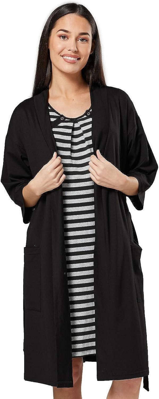 HAPPY MAMA Donna Vestaglia e Camicia da Notte Set pr/émaman Allattamento 1253