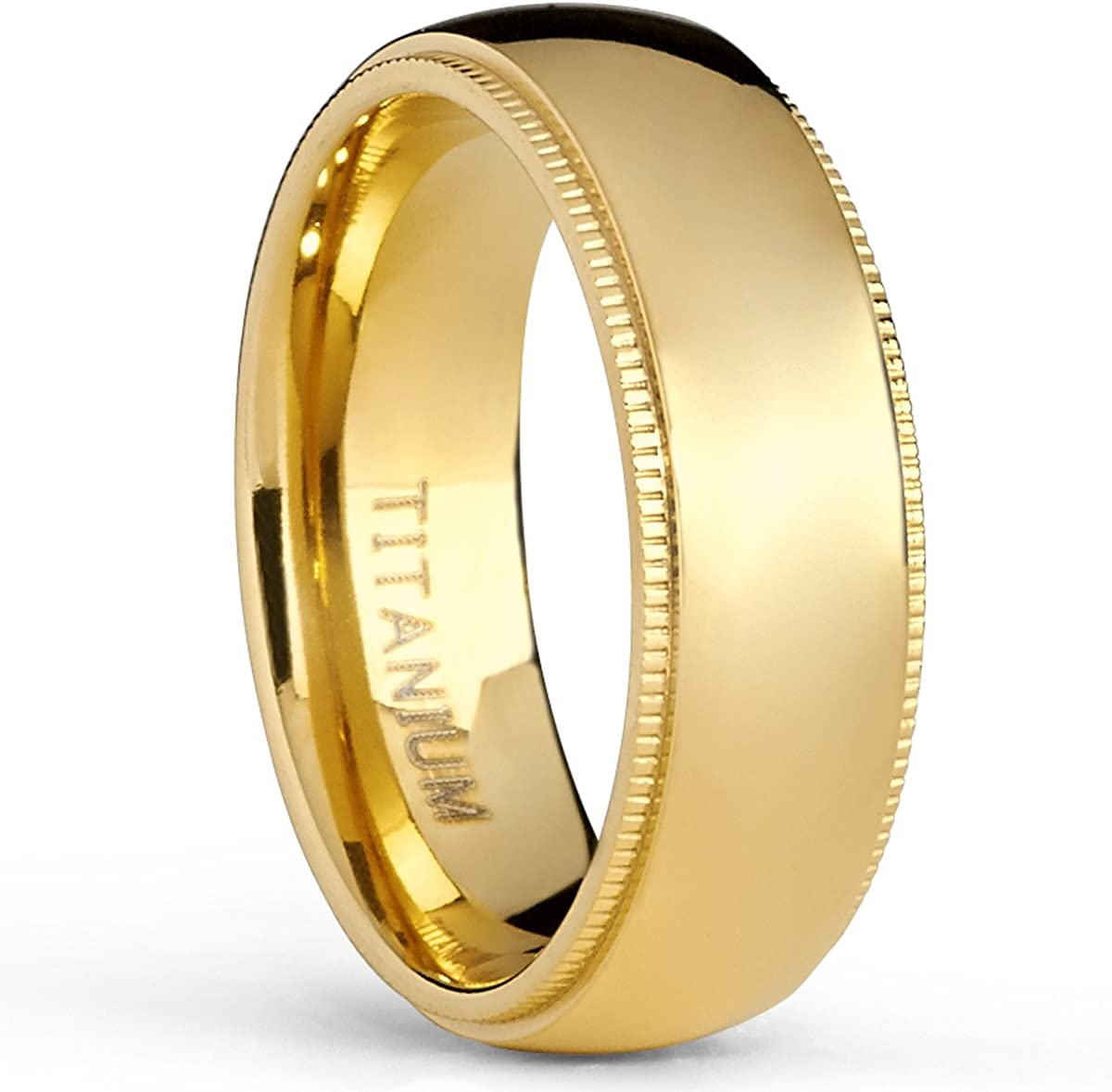 Metal Masters Co. Goldtone Titanium Wedding Band Engagement Ring, Milgrain Edges Comfort Fit, 7mm
