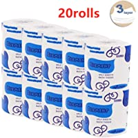 Silky & Smooth Soft Professional Series Premium 3-Ply Toilet Paper, Home Kitchen Toilet Tissue, Soft, Strong and Highly Absorbent Hand Towels for Daily Use (20 Rolls)
