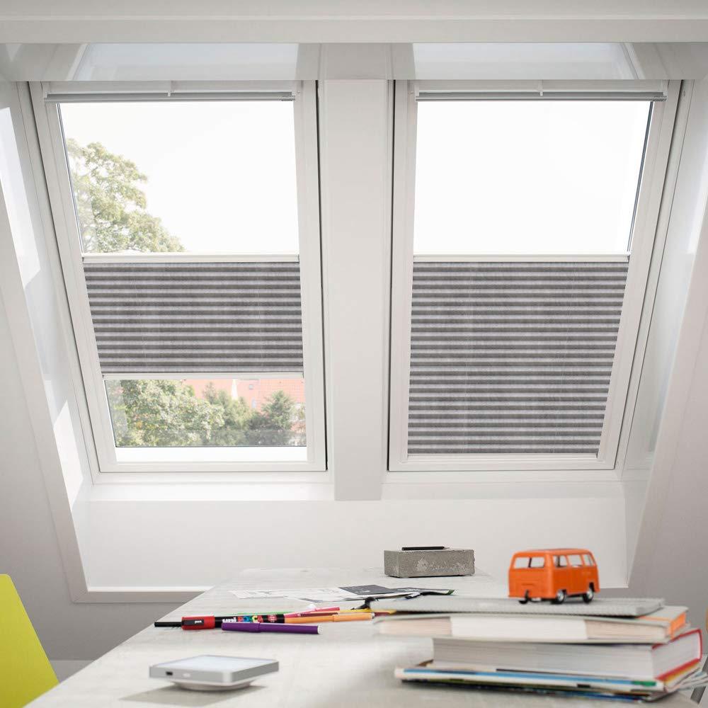 Orignal VELUX Plissee   Faltstore FHL Y45 1262S   Bedienart   Manuell   Farbe   Dekor Grau Weiß   Fenstergröße   Y45   Fenstertypen   VU, VL, VKU _17996