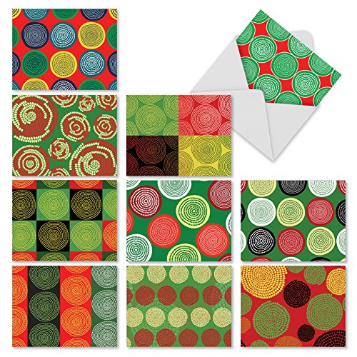 Search : 10 Assorted 'African Circles' Christmas Cards with Envelopes (4 x 5.12 Inch), Boxed Season's Greetings Cards with Tribal-Inspired Circle Designs, Stationery for Christmas, Holidays, New Year M2272