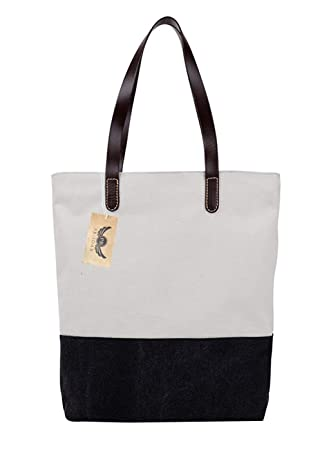 30d5b32c65 PB-SOAR Women s Two Tone Simple Design Canvas Tote Bag Handbag Shoulder Bag  Shopping Bag Purse