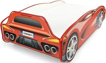 Leomark Individual Cama Infantil de Madera - Sport Car - Color Rojo, con somier, colchón, para niños, Funcional Dormitorio, Espacio para Dormir: ...