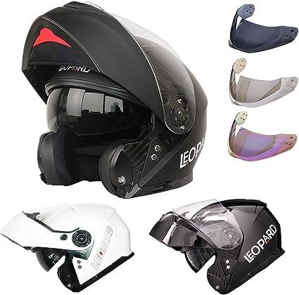Leopard LEO-888 Double Visor Flip up Front Motorcycle Motorbike Helmet Road Legal White//Grey//Black XL 61-62cm