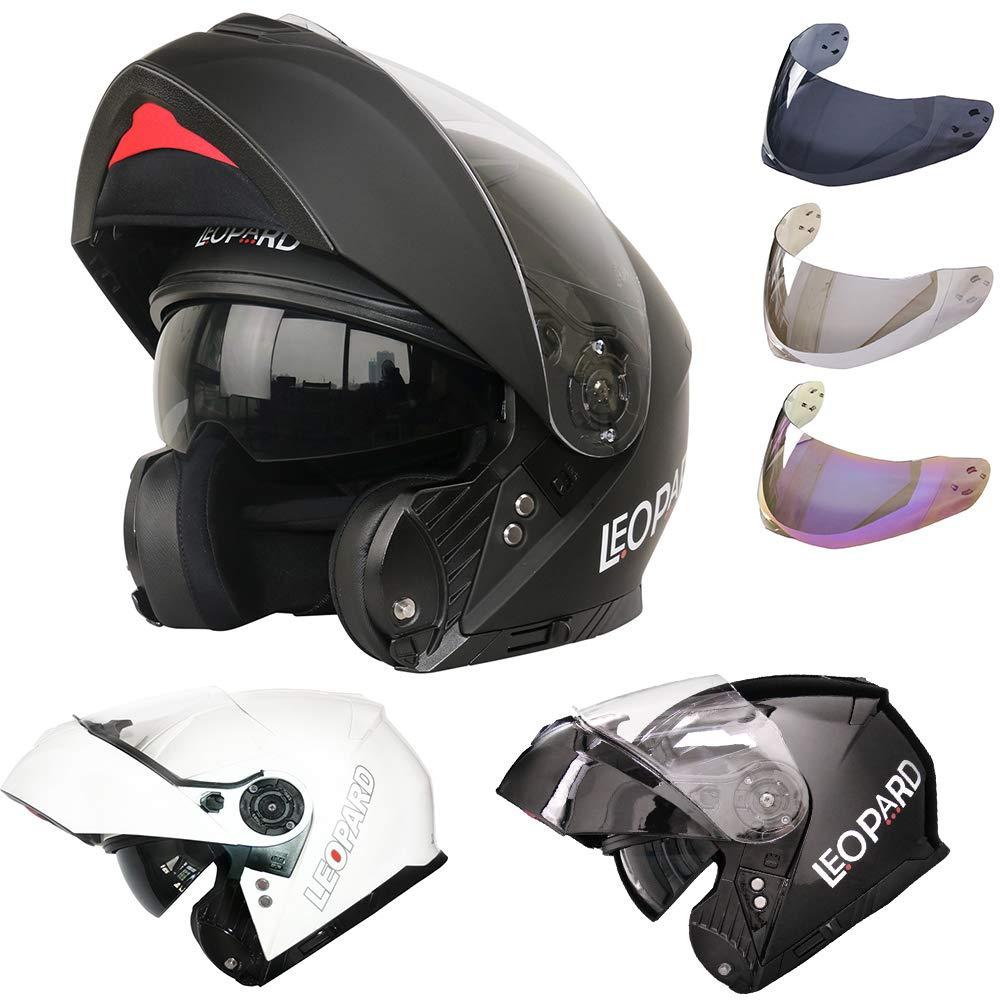 59-60cm Black L Leopard LEO-888 DVS Modular Flip up Front Motorbike Motorcycle Helmet Extra Iridium Visor