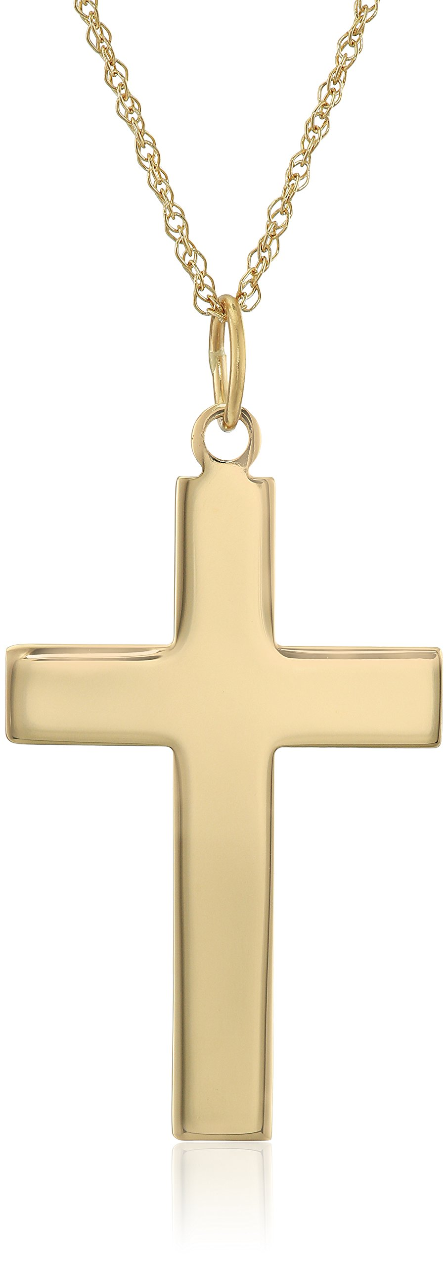 Men's 14k Yellow Gold Solid Large Polished Cross Pendant Necklace, 20''