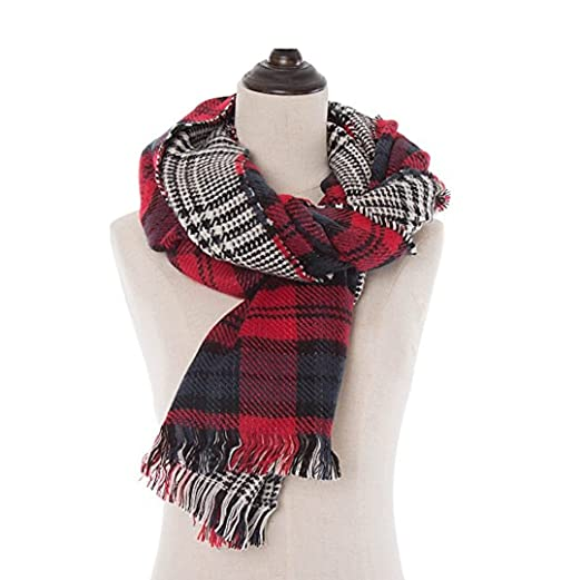 4f7c97782b6f8 Image Unavailable. Image not available for. Color: Red Double Sided Tartan  Plaid Blanket Scarf ...