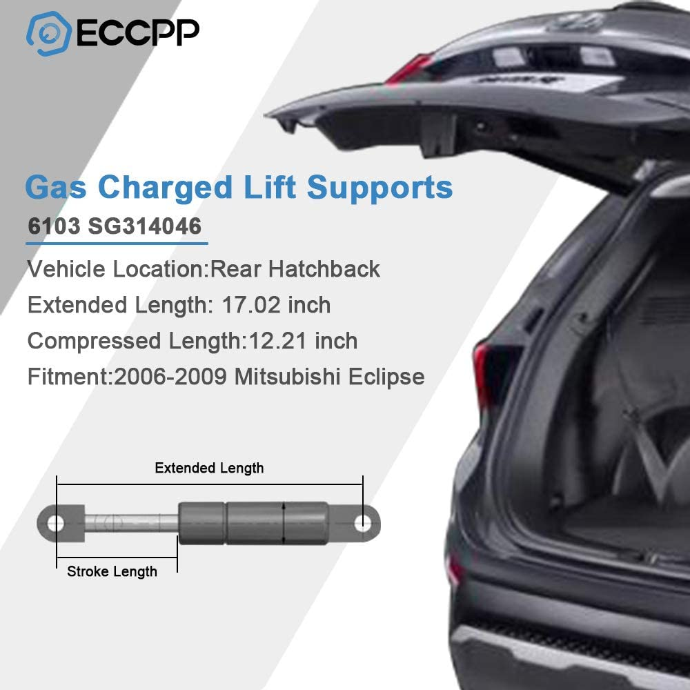 ECCPP 2pcs Rear Hatch Lift Supports Struts Rods Shocks Gas Springs for Mitsubishi Eclipse 2006 2007 2008 2009