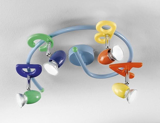 Plafoniere Bimbi : Lampada plafoniera perenz 4 luci multicolore con faretti orientabili