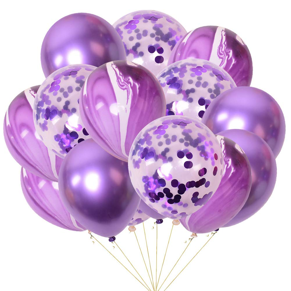 Ballon métallisé de 30,5 cm violet pour décoration de mariage 15 confettis ballons à paillettes 5 cm violet pour décoration de mariage 15 confettis ballons à paillettes Unicoco