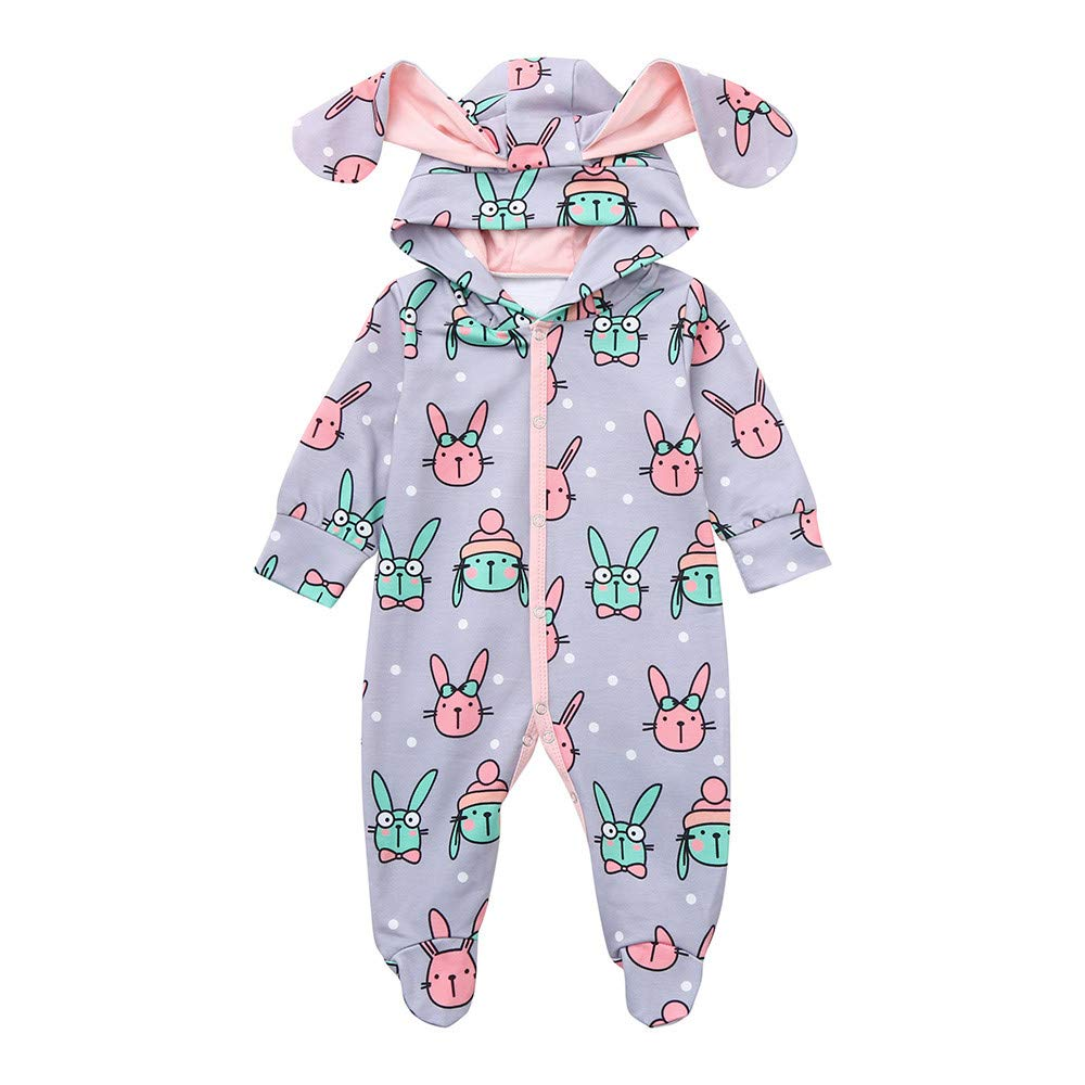 Waymine Infant Boys Girl Romper Long Sleeve Cartoon 3D Bunny Ear Hooded Jumpsuit