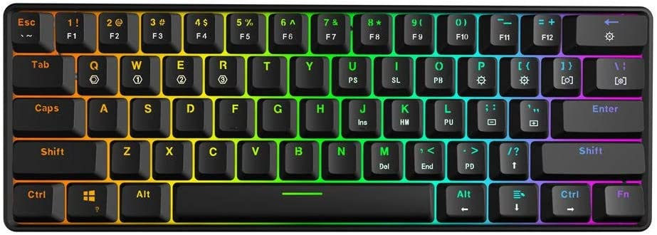 Color : Black, Size : One Size Red Switch 61Keys Gateron Optical Axis RGB Mechanical Keyboard for Windows PC Gamers Mechanical Gaming Keyboard Type-c Programmable Gaming