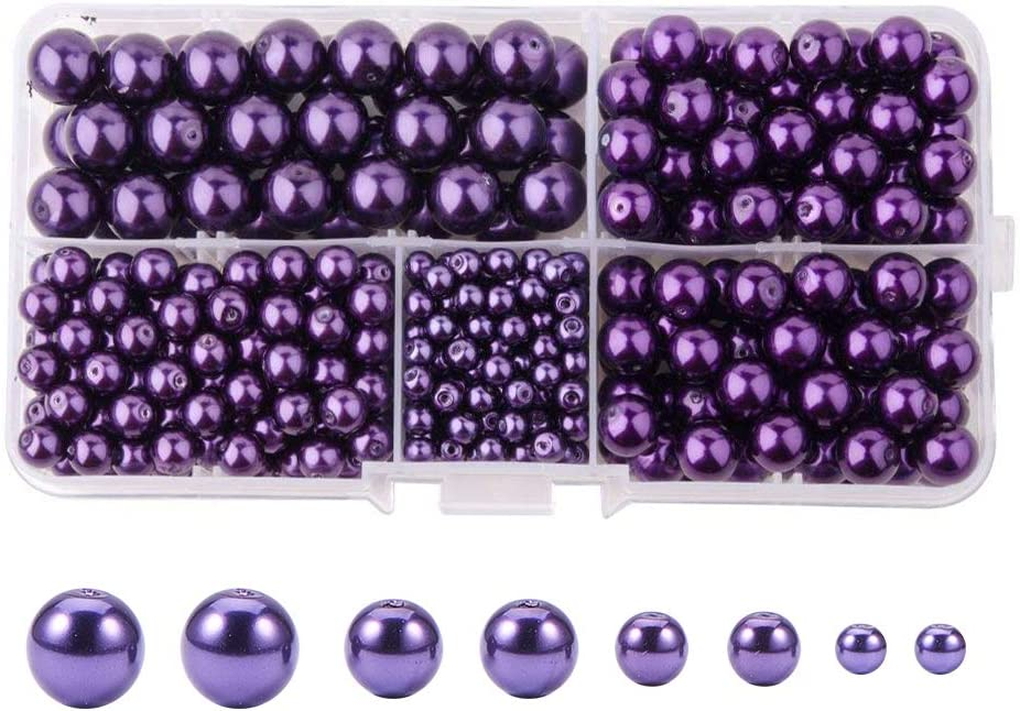 PandaHall Elite About 200 Pcs 8mm Tiny Satin Luster Glass Pearl Bead Round Loose Spacer Beads for Jewelry Making White