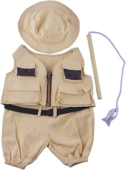 Fisherman w//Hat and Pole Outfit Teddy Bear Clothes Fits Most 14-18 Build-A-Bear and Make Your Own Stuffed Animals Teddy Mountain 2352