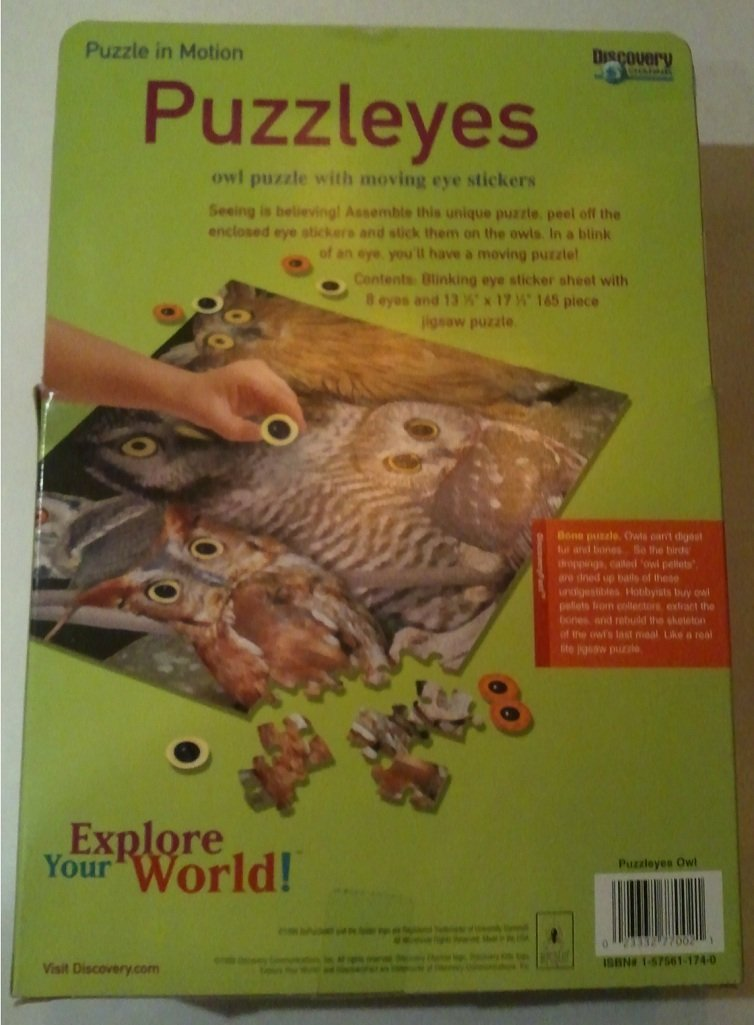 Amazon.com: Discovery Channels Puzzleyes, Puzzle in Motion: Owl with Moving Eyes; 165 Pieces: Toys & Games
