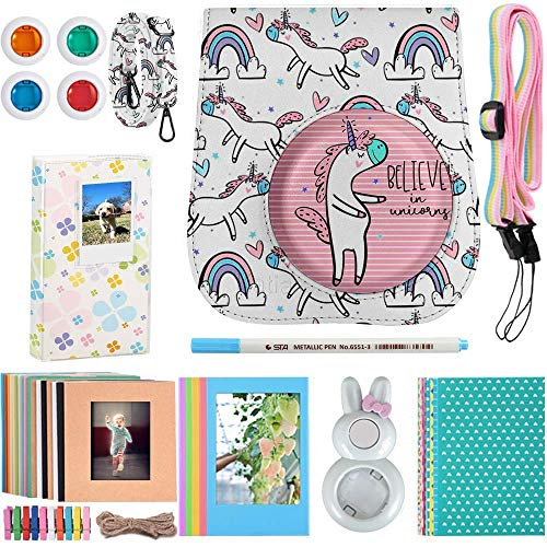Katia Instant Camera Accessories Bundle Compatible for Fujifilm Instax Mini 9 / Mini 8+ / Mini 8 Instant Film Camera. Includes Camera Case, Album, Frame, Stickers, Strap,etc - White