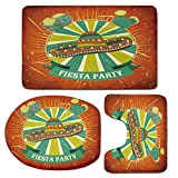 3 Piece Bath Mat Rug Set,Fiesta,Bathroom Non-Slip Floor Mat,Latin-America-Culture-Inspired-Ethnic-Sombrero-and-Cactuses-Worn-Decorative,Pedestal Rug + Lid Toilet Cover + Bath Mat,Orange-Seafoam-Yellow
