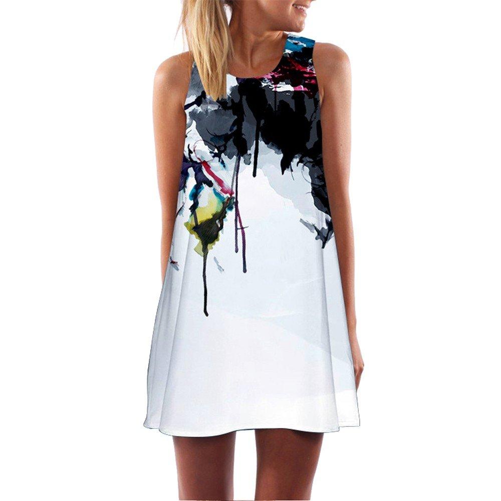 KYLEON Women Dresses Vintage Boho Summer Sleeveless Dress Casual Beach Short Tank Mini Loose T-Shirt Swing Sundress Black