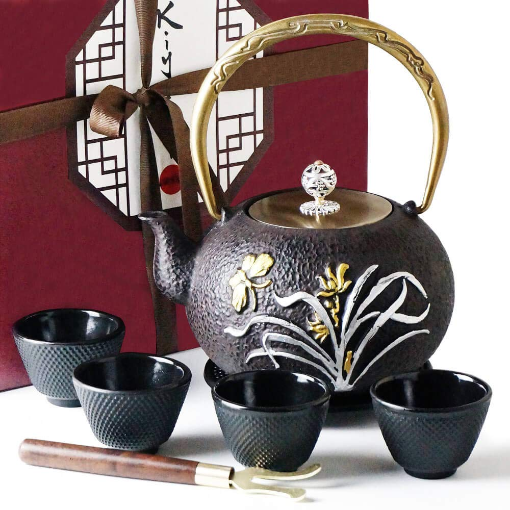 KIYOSHI Luxury Traditional Japanese Cast Iron Tea Set 8 Pieces - Teapot (1,2L - 40,57Oz) + 4 Iron Cups + Trivet + Wood Lid Holder - Gift Box - 100% Hand Made - American FDA Approved (Butterfly)