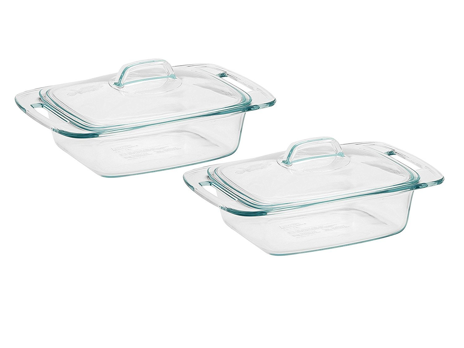 Set of 2 Pyrex Easy Grab 2-qt Casserole bundled by Maven Gifts