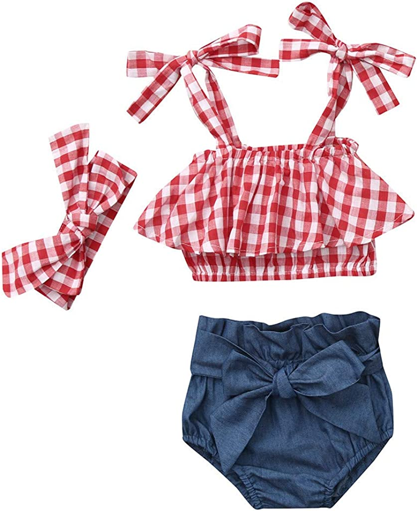 Mr.Macy Super Cute Girls Sleeveless Plaid Sun-Tops Denim Shorts Headbands Outfits Set